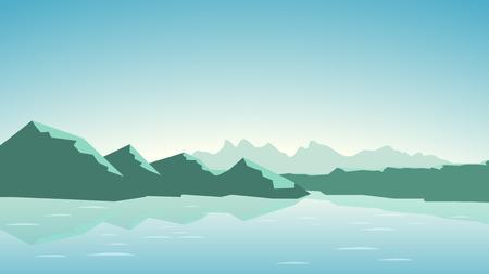 Illustratie van rustige groene kleur kleuren bergen met meer