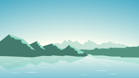 illustration of calm green tone color mountains with lake Illustration