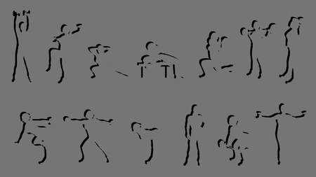 working out: illustration of female silhouette of working out on grey background