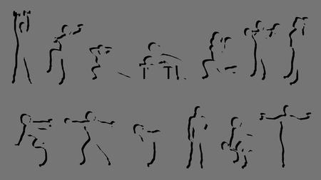 Ilustración de la silueta femenina de trabajar sobre fondo gris