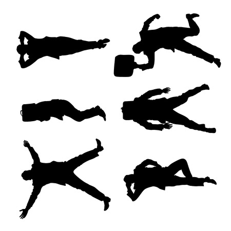 fainted: illustration of set of lying businessmen view from top on white background
