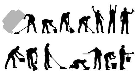 illustration of cleaning male set on white background Illustration
