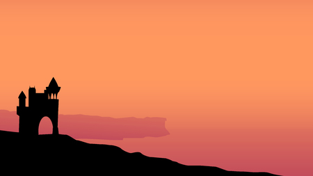 cliff edge: illustration of silhouette of castle on edge with red sky