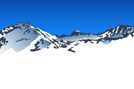 mountaintop: illustration of big snow mountains with blue sky Illustration