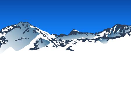 european alps: illustration of big snow mountains with blue sky Illustration