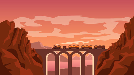 going in: illustration of old vintage train going in red mountains