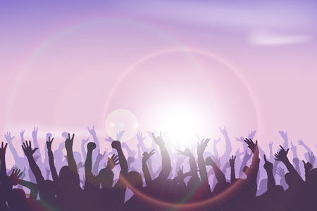overjoyed: illustration of crowd of people dancing in sun lights