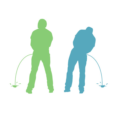 illustration of pissing two men silhouette standing back on white background  イラスト・ベクター素材