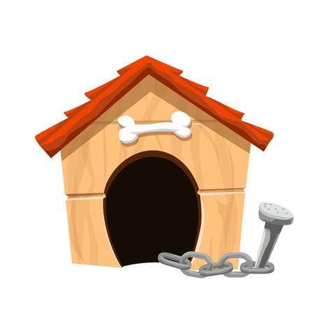 Illustration der Comic-Hund Haus auf weißem Hintergrund mit Kette Vektorgrafik