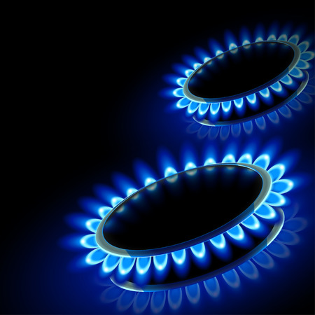 methane: illustration of few gas stove firing on black background