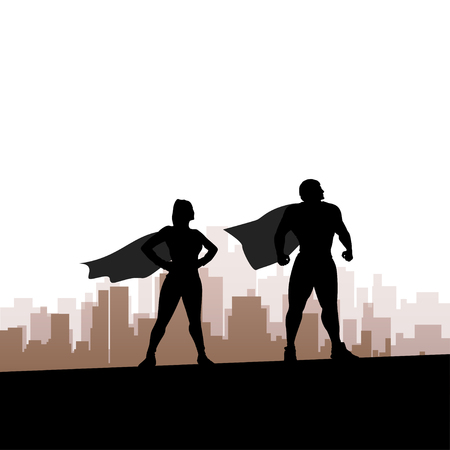 hot couple: cartoon illustration of two super heroes standing silhouettes Illustration