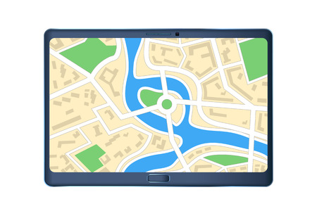 cartography: illustration of tablet with city map on screen on white background