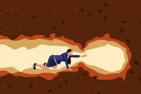 illustration of businesswoman crawl in cave color Vectores