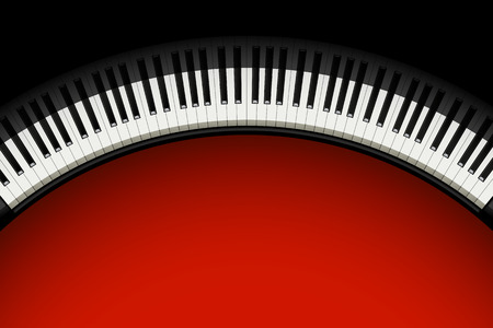 illustration of piano buttons with shadow on red dark background 向量圖像