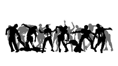 Ilustración de un grupo de siluetas de zombies en el fondo blanco