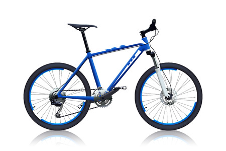 shocks: illustration of realistic off-road bicycle blue color on white background with reflection