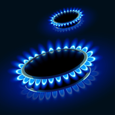 firing: illustration of two gas stove firing in the darkness Illustration