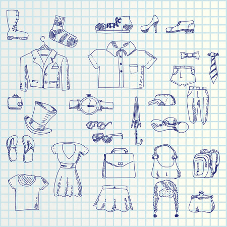 illustration of hand draw set clothes icons on paper