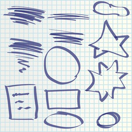 deletion: illustration of hand draw set elements maked by marker