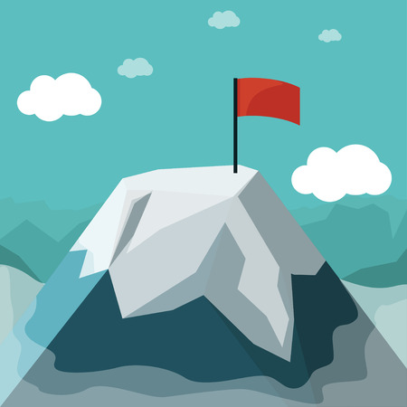 illustration of icy peak mountain with red flag