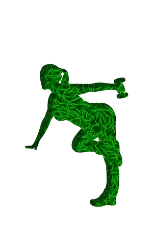 woman shadow: illustration of woman silhouette from lawn grass with shadow