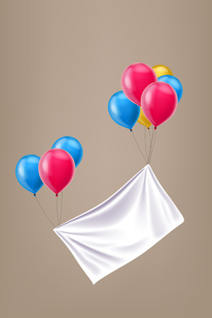 white cloth: illustration of group different color balloons with white cloth Illustration