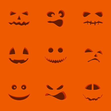spook: Illustration of set of different Halloween pumpking faces on red background