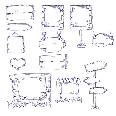 letreros: Ilustraci�n de diferentes letreros mano de la cuerda fija en el fondo blanco