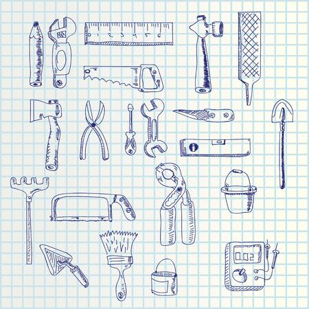rasp: illustration of hand draw hand tools set on square paper list