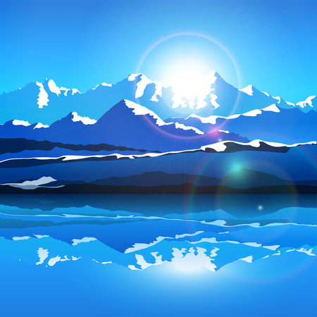 illustration of mountains with snow edges and lake in front