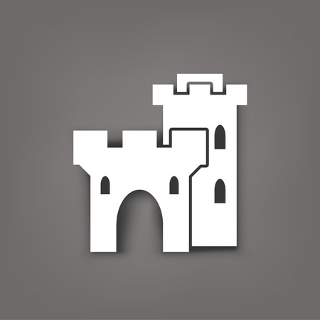 chateau: illustration of white color castle icon with shadow on dark grey background