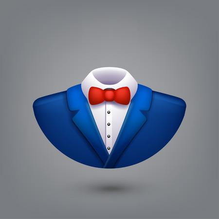 illustration of blue color tuxedo symbol on grey background