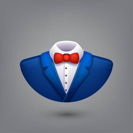 illustration of blue color tuxedo symbol on grey background