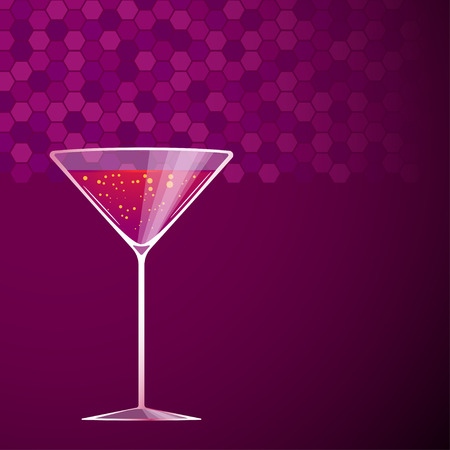 soda splash: illustration of red cocktail in martini glass on violet background