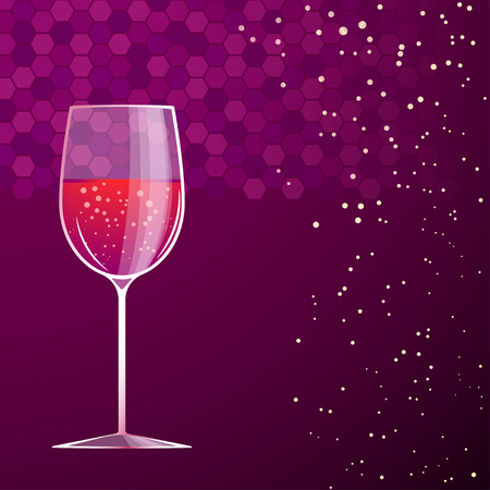 soda splash: illustration of glass of red vine on violet background Illustration