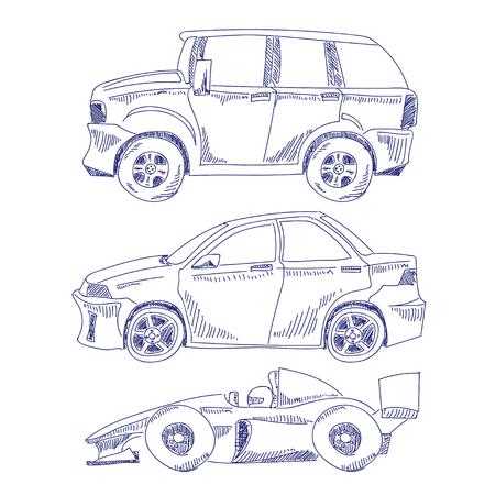 formula one: illustration of hand draw sedan suv and formula one on white background
