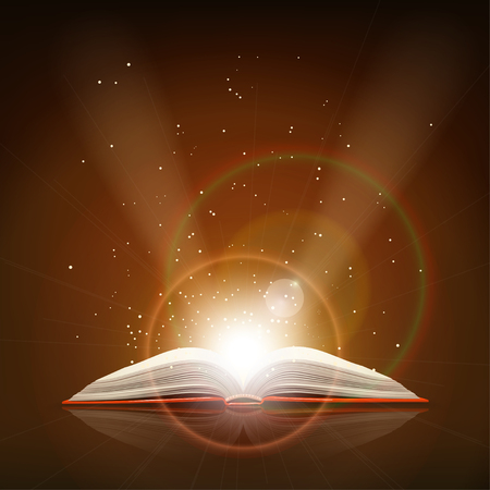 opened book: illustration of red opened book with bright lights lying on brown background