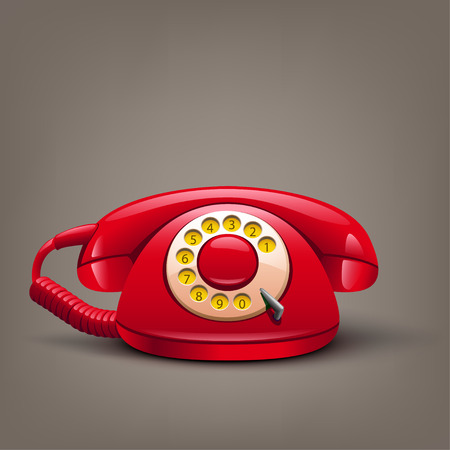illustration of red retro telephone with shadow on brown background Illustration