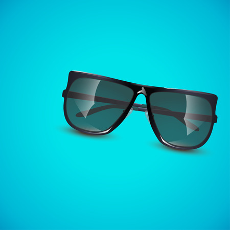 illustration of sunglasses on blue background with soft shadow