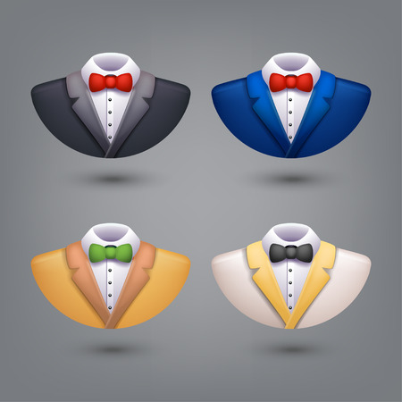 illustration of set of different color tuxedo on grey background