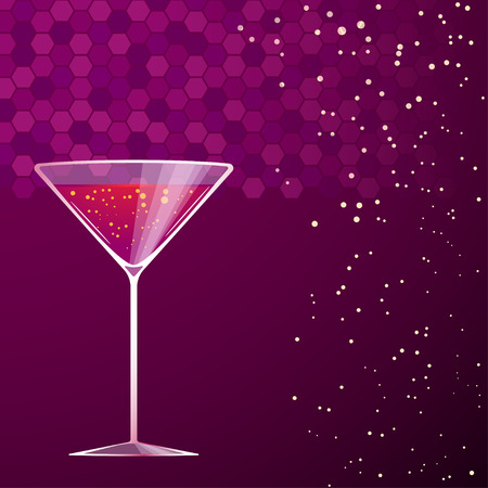 soda splash: illustration of violet cocktail in martini glass on violet background