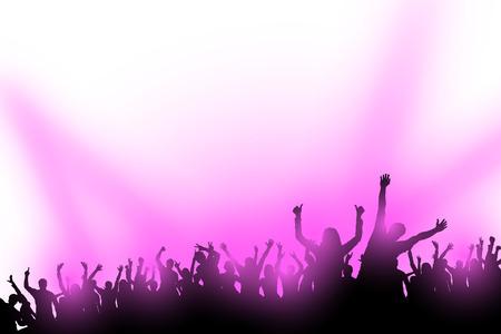 illustraion di folla di gente che balla con le luci viola