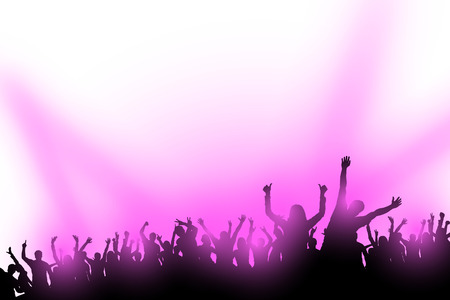 illustraion: illustraion of crowd of dancing people with violet lights Illustration