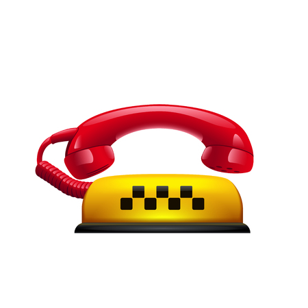 illustration of yellow taxi symbol with red phone Illustration