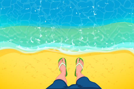 illustation: illustation of male legs standing on sand coast with blue sea view from top