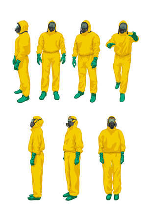 radiation protection suit: illustration of set man and woman in yellow biohazard protective siuts on white background