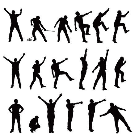 illustration of set of climbing male silhouette isolated