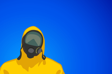 illustration of man in yellow biohazard protective siut on blue background