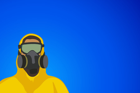 toxic accident: illustration of woman in yellow biohazard protective siut on blue background