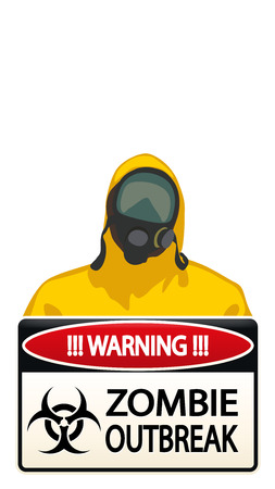 gas mask warning sign: illustration of man in yellow biohazard protective siut with zombie sign on white background